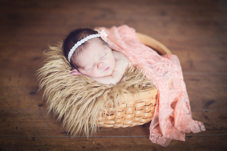 beautiful newborn girl in a basket